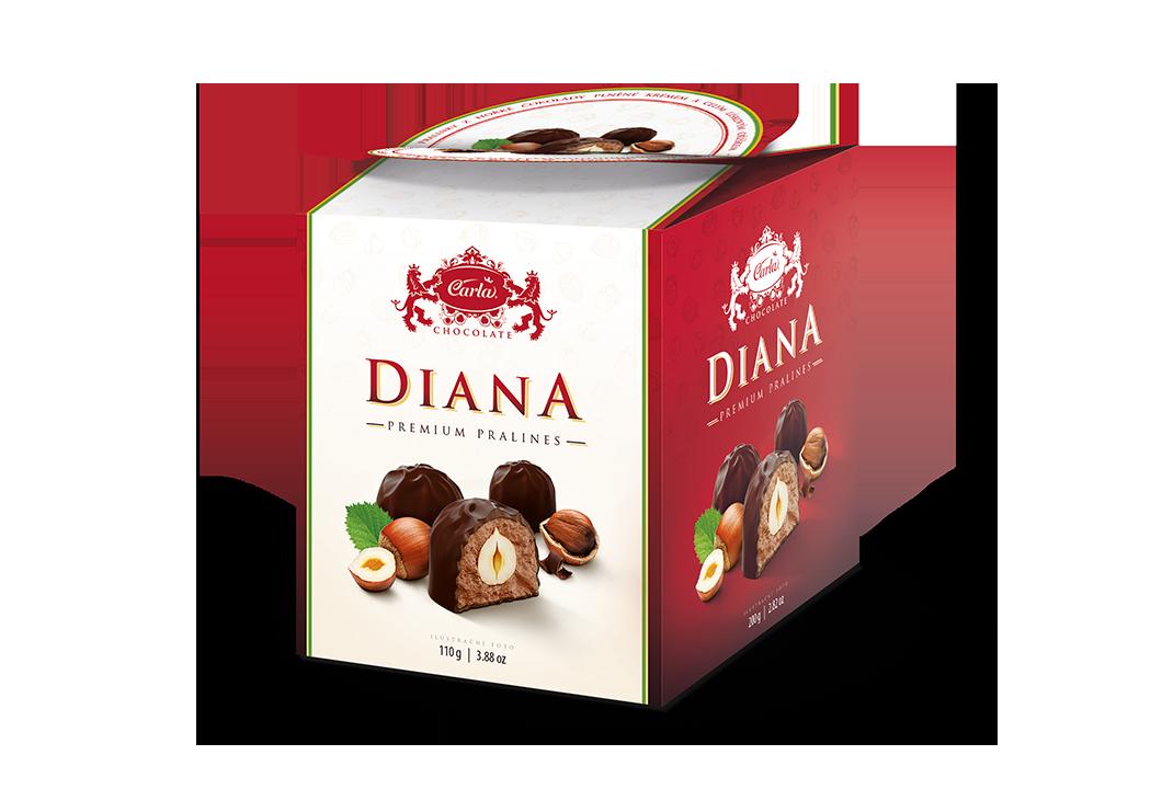 Diana – celý oriešok v horkej čokoláde (box)